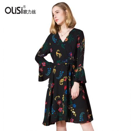 OLISI欧力丝女装连衣裙奢华大牌气质系带印花喇叭袖大摆裙连衣裙·黑多色