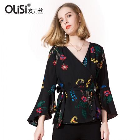 OLISI欧力丝女装衬衫简约时尚交叉V领绑带上衣·黑多色