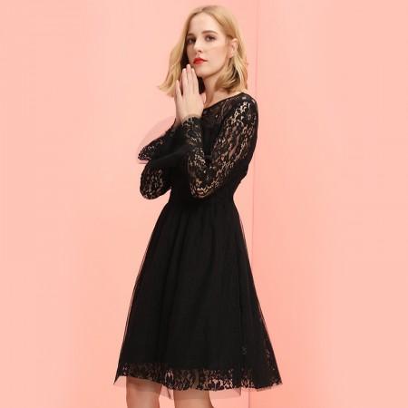 OLISI欧力丝女装连衣裙A型喇叭袖中长连衣裙·黑色