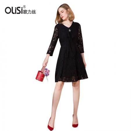 OLISI欧力丝女装连衣裙V邻中长款显瘦连衣裙·黑色