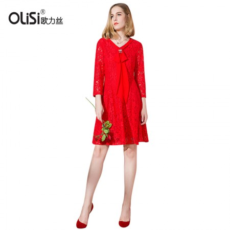 OLISI欧力丝女装连衣裙V邻中长款显瘦连衣裙·红色