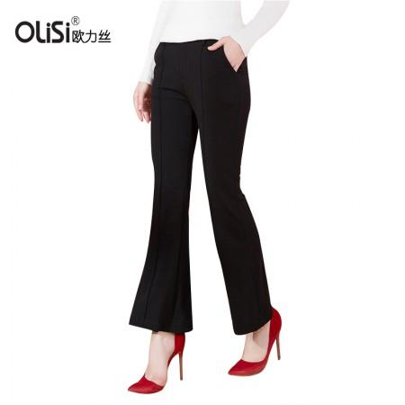 OLISI欧力丝女装裤子新款韩版宽松裤子休闲裤弹力显瘦微喇叭裤长裤·黑色