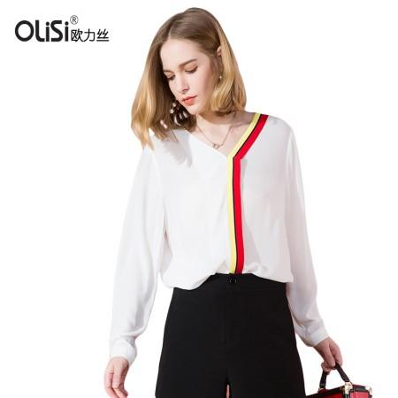OLISI欧力丝女装上衣简约宽松显瘦v领套头拼色长袖雪纺上衣·白色
