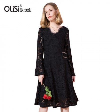 OLISI欧力丝女装连衣裙个性时尚V字领,镂空蕾丝喇叭袖a字中长连衣裙·黑色
