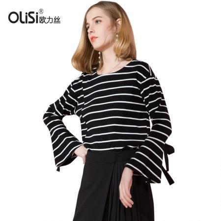 OLISI欧力丝女装上衣春装新款显瘦喇叭袖打底条纹上衣·黑白条