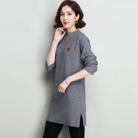 多多的世界 长袖修身纯色半高领韩版毛衣裙DD8060·灰色