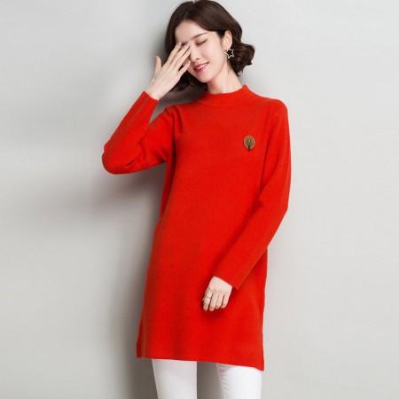 多多的世界 长袖修身纯色半高领韩版毛衣裙DD8060·橘红色