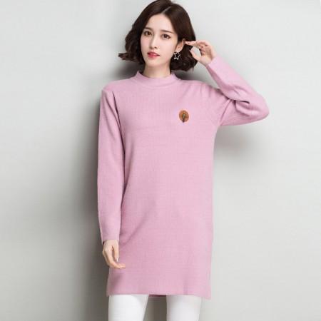 多多的世界 长袖修身纯色半高领韩版毛衣裙DD8060·粉色