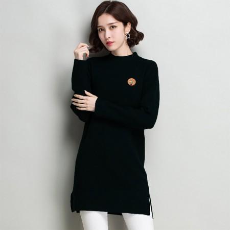 多多的世界 长袖修身纯色半高领韩版毛衣裙DD8060·黑色