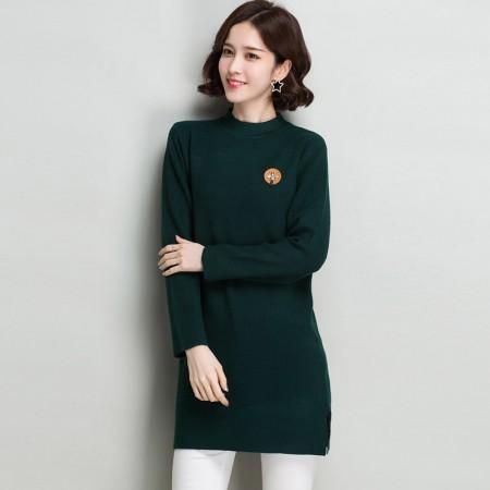 多多的世界 长袖修身纯色半高领韩版毛衣裙DD8060·墨绿色
