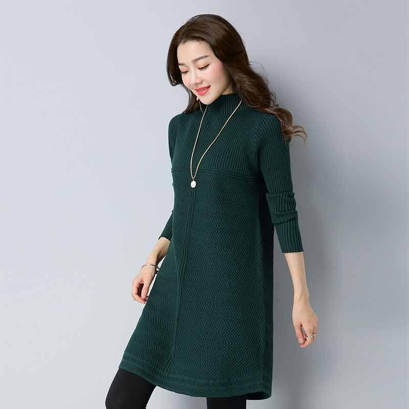 多多的世界 套头韩版宽松中长款针织衫时尚连衣裙DD1811·墨绿