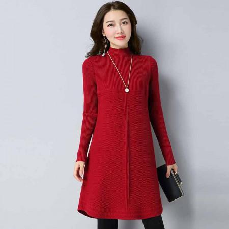 多多的世界 套头韩版宽松中长款针织衫时尚连衣裙DD1811·酒红