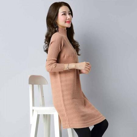 多多的世界 套头韩版宽松中长款针织衫时尚连衣裙DD1811·驼色