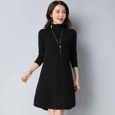 多多的世界 套头韩版宽松中长款针织衫时尚连衣裙DD1811·黑色