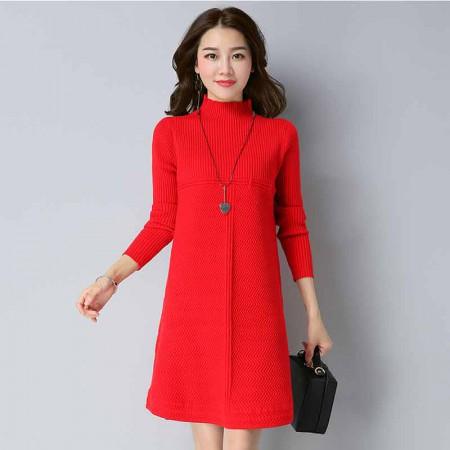 多多的世界 套头韩版宽松中长款针织衫时尚连衣裙DD1811·大红色