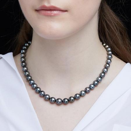 Vermeer S925银进口大溪地珍珠全珠项链·黑色