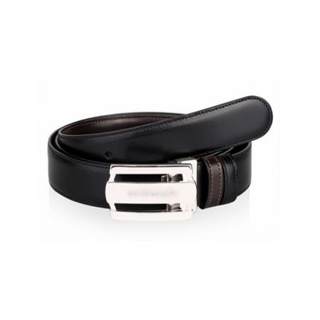 Montblanc(万宝龙)男士当代矩形镂空三环亮光镀钯皮带/腰带120厘米103431黑色·黑色