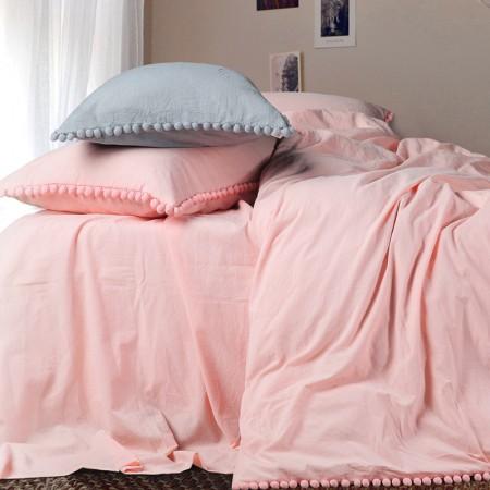 莱薇 简约色织水洗棉球球款四件套5尺床(茜丝莉)·茜丝莉