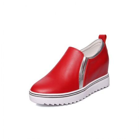Garthphil 真皮休闲深口厚底松糕底内增高单鞋女·红色