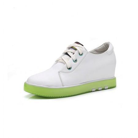 Garthphil 牛皮圆头厚底内增高系带小白鞋女·白色绿底