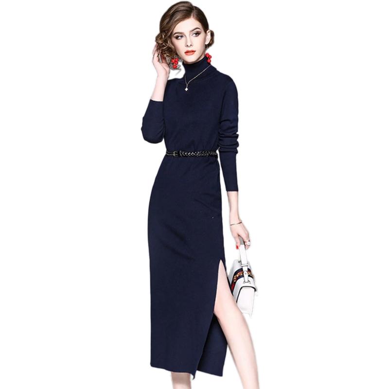 ssyaoge 纯色针织高领修身开叉连衣裙wnzd01·藏蓝色