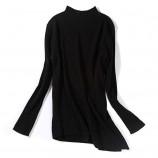 丁摩 羊毛斜纹开叉打底针织衫7906·黑色