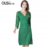 OLISI欧力丝女装连衣裙优雅时尚唯美连衣裙·绿色