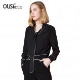 OLISI欧力丝女装上衣优雅迷人OL风简约气质黑色衬衫百搭显瘦上衣外套·黑色