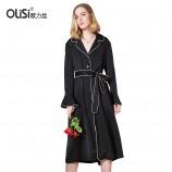 OLISI欧力丝女装连衣裙睡衣风连衣裙系带显瘦中长款长袖外套·黑色